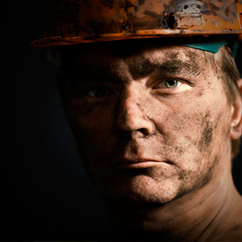 Miner in a helmet