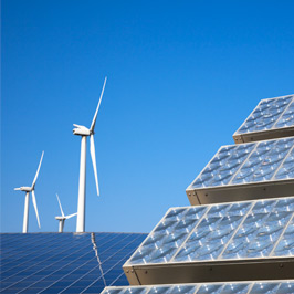 picture of windmills and solar panels. SQE offers environmental consultancy in a range of sectors